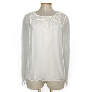 GRAHAM & SPENCER cream embroidered chest top